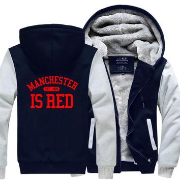 2017 Winter New Style Manchester Is Red The UK Hooded Men Hipster Sweatshirts Fleece Thick Warm Jacket Plus Size Hoodies  M-4XL