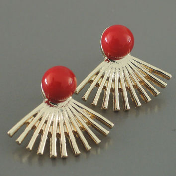 Ear Jackets - Lipstick Red Earrings - Gold Ear Jackets - Gold Earrings - Stud Earrings - Statement Earrings - Boho Earrings