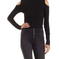 Black Ribbed Cold Shoulder Mock Neck Top by Charlotte Russe