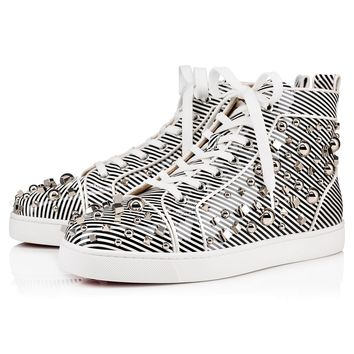 Christian Louboutin Cl 19s Louis Mix Flat Patent Leather Black/white Sneakers - Best Online Sale