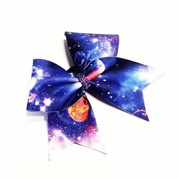 Galaxy cheer bow, cheer bow, space cheer bow, cheerleading bow, cheerleader bow, dance bow, soft ball bow, cheer bows, rec cheer bow, bow