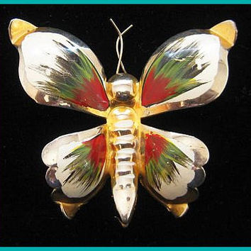 """Butterfly Brooch Pin Enamel Painted Red Green White Color Bug Gold Metal BIG 2 3/4"""" Vintage"""