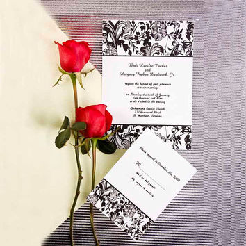 Vintage Damask Wedding Invitations, Black and White Invitation Cards, Printable, Free RSVP Cards and Envelopes, Free Shipping EWI043