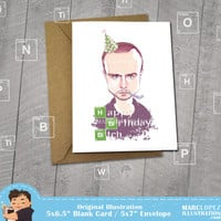 BREAKING BAD Birthday Card, Jesse Pinkman, Aaron Paul Portrait, Greeting Card 5 x 6.5, Note Card, 5 x 7 Kraft Envelope, Unique, Caricature