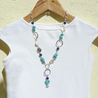 Turquoise Necklace, Silver Turquoise Necklace, Turquoise Beaded Necklace with Pearl and Purple Agate