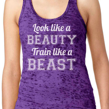 train like a beast look like a beauty Womens Workout Top American Apparel Racerback Tank Top Gym Fitness Running