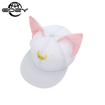 Pretty Soldier Sailor Moon Loona Same Style Women Baseball Hat Cute Cat Ears Hip Hop Cap Snapback Casquette Gorras 2017
