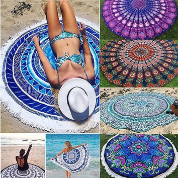 Round Mandala Indian Hippie Boho Tapestry Beach Picnic Throw Mat Blanket