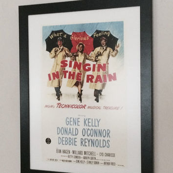 "Framed Classic Hollywood full colour movie poster Gene Kelly - Singing in the Rain - 16"" x 12"""