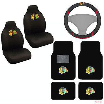 Licensed Official NHL Chicago Blackhawks Car Truck Seat Covers Floor Mats & Steering Wheel Cover