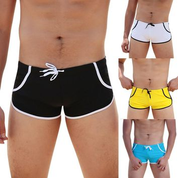 2017 Mens Sexy Swimming Briefs Patchwork Water Sports Men's Swimming Trunks Sea Surfing Beach Shorts Slim Swimwear Pants ARE4