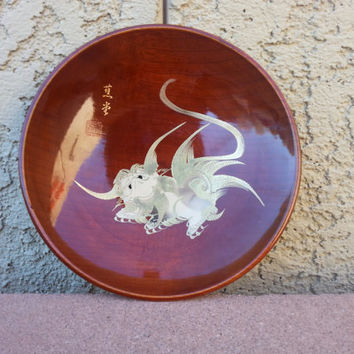 Oriental Wooden Gold Giltted and Pearled Painted Dragon Plate/Bowl