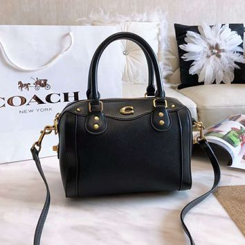 COACH Popular Women Shopping Bag Leather Handbag Tote Shoulder Bag Crossbody Satchel Black