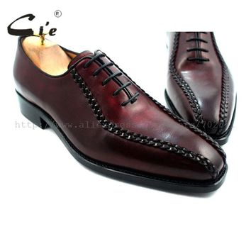 cie square toe goodyear welted weave handmade leather man shoe 100%genuine calf leather men's oxford leather shoe wine.OX214
