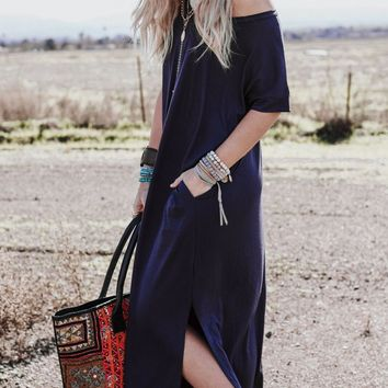 Eternal Sunshine Tee Maxi Dress - Navy