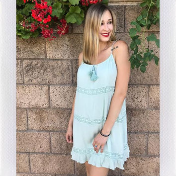 SORRENTO CROCHET DRESS- SAGE from shopoceansoul