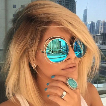 Vintage Round Sunglasses Brand Designer Women Sun Glasses Big Metal Frame Gradient Shades Lady Oval Oculos De Sol Feminino UV400