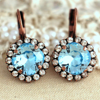 Light Blue Crystal earrings, Aquamarine Swarovski earrings, Drop earrings, Blue sky Bridal earrings, Bridesmaids earrings, Crystal jewelry