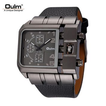 Oulm Big Size Men's Square Watches Male Quartz Clock Casual PU Leather Wristwatch Luxury Brand Military Watch reloj hombre