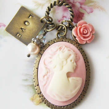Cameo necklace - pink necklace - charms - vintage style necklace - romantic jewelry - Europe