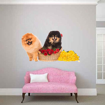 dogs wall Decals flowers wall decor dogs Full Color wall Decals Animals wall Decals veterinary clinic decor Home Decor for kids room cik2246