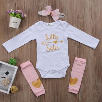 Cute Newborn Baby Girls Little Sister Onsie + Leg Warmers + Head 377d668e1b76