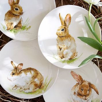 PASTURE BUNNY PLATE, SET OF 4
