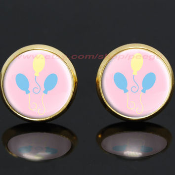 my little pony pinkiepie cutie mark mlp gold plated stud post earrings,girlfriend gift Bridesmaid Gift