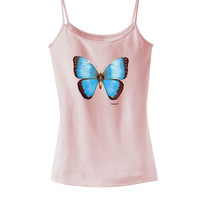 Morpho Butterfly 3D Spagetti Strap Womens Shirt
