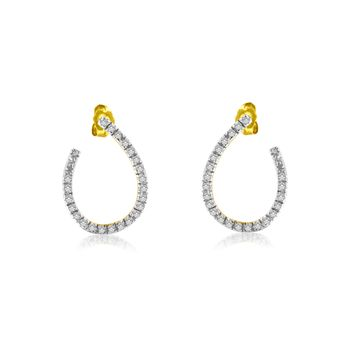 14K Yellow Gold 0.5 CTTW Diamond Hoop Earrings