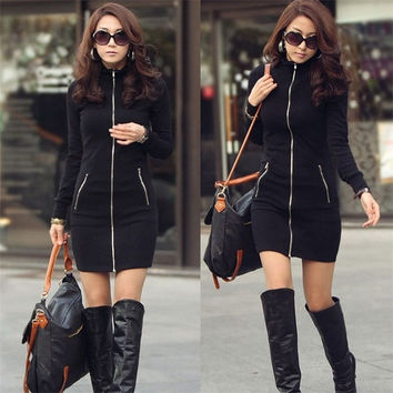 S~XXL Women Black Dress Slim Zipper Up Dress Long Sleeve Bodycon Mini Winter Dresses Sunny = 1956795716
