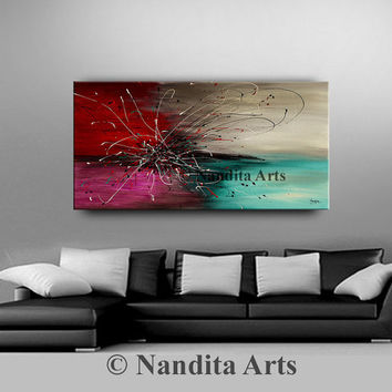 """Abstract painting 48"""" Abstract art Large Original painting on canvas, calming cool tones, red, turquoise color, Handmade by Nandita Albright"""