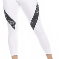 Sexy Hi Lo Waist Blue Digital Camo Combat Athletic Capri Pants - White/Blue