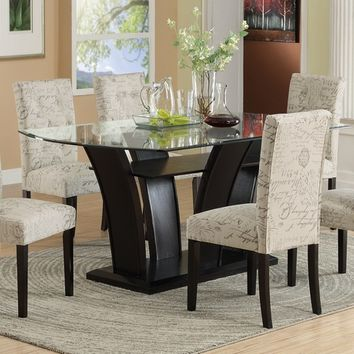 7 pc harpers curve collection dark finish wood dining table set with curved base and tempered glass top