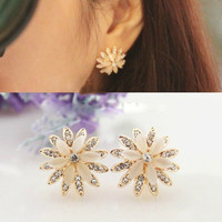NT0145 Retro daisy diamond without pierced ear clip