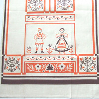 Vintage Linen Towel Orange and Brown Print Alpine Folk Art