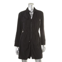 Alfani Womens Petites Zip Front Collared Shirtdress