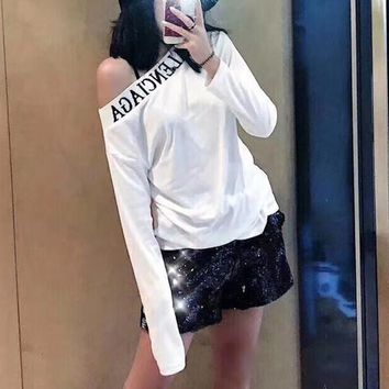 balenciaga women all match fashion letter off shoulder long sleeve t shirt bottoming tops