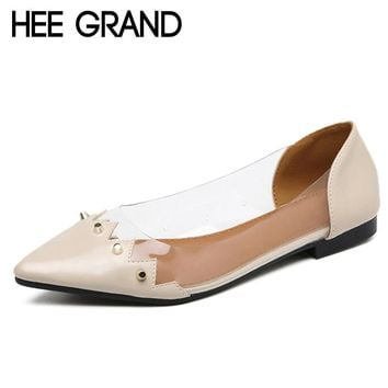 HEE GRAND Metal Decorated Women's Transparent Pointed Toe Pumps/Shoes