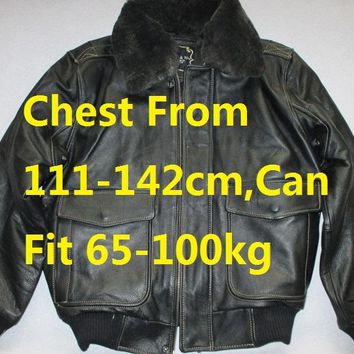 Plus Size Double Fur Neck Cow Leather Jacket Chest From 111-142 cm Genuine Leather Jacket Men Fashion Natural Leather Jacket