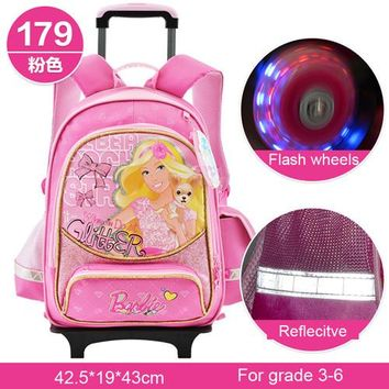 Barbie cartoon trolley/wheels children/kids safety school bag books rolling backpack with detachable for girls grade 3-6
