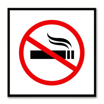 No Smoking Sign Art White Print on Canvas Picture Frames Wall Home Décor Mancave