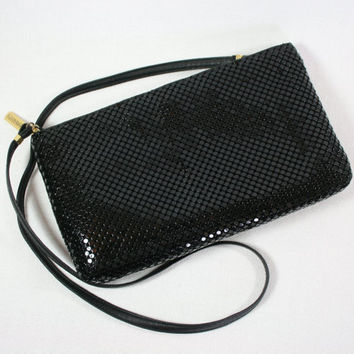 SALE Vintage Whiting & Davis Black Metal Mesh Shoulder Bag