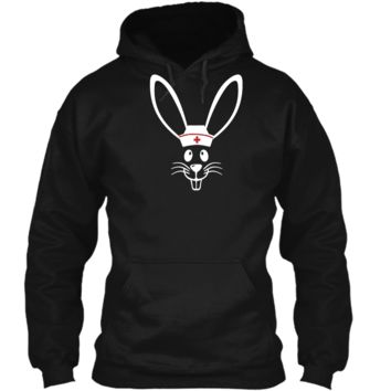 Bunny Face Scrub Hat Cute Easter Day Nurse T-Shirt RN Gift Pullover Hoodie 8 oz