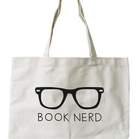 Book Nerd Canvas Tote Bag - 100% Cotton Eco Bag, Shopping Bag, Book Bag