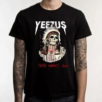 Kanye West Yeezus Black Men Clothing High Quality tee S,M,L and XL (Y4)