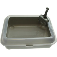 Plastic Litter Box with Splash Guard and Scoop