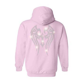 Women's Zip UP Hoodie Rhinestones Angel Wings Tribal Clear