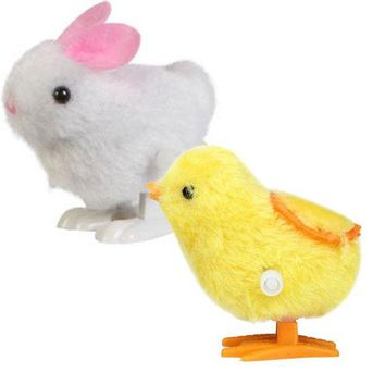 VONFC9 New Infant Child Toys Hopping Wind Up Easter Chick and Bunny Rabbit Chick Soft toys for baby children