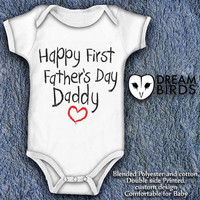 happy first fathers day daddy Baby Onesuit, Fullprint Onesuit Bodysuit